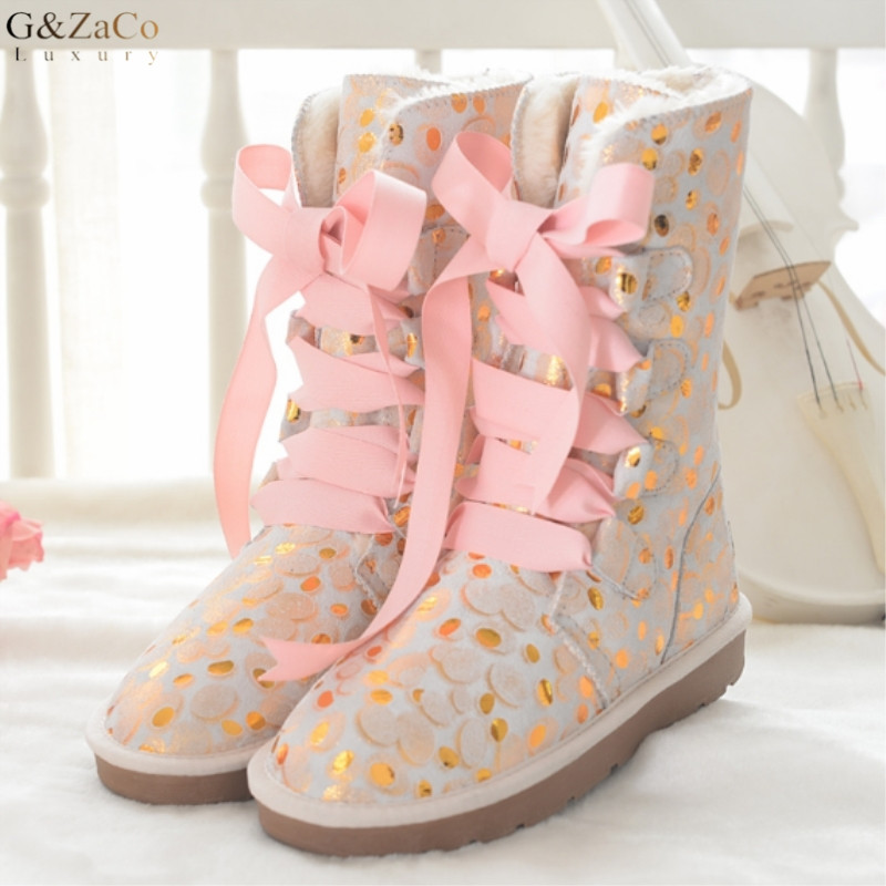 G&Zaco Women Strap Knee High Snow Boots Cowskin Boots Knee-high Lace Genuine Leather Bow Sweet Pink Female Flats Snow Boots купить в Москве 2019