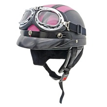 Brand New Motorcycle Helmets Unisex Leather Harley Helmet With Goggles Motorbike Electric Vehicle Safety Hat Protective Gear