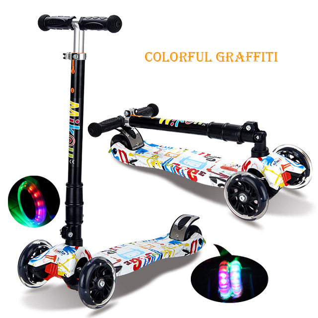 Infant Shining Scooter Child 2-14 years Ride on Toy, Foldable Easy Carry Boy and Girl Light Flash Bike Baby Swinging Slider