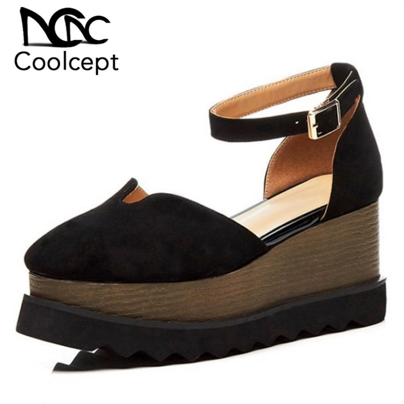 Coolcept Women Sandals Genuine Leather Thick Bottom Fashion Designer Shoes Women Buckle Sexy Party Vacation Shoes