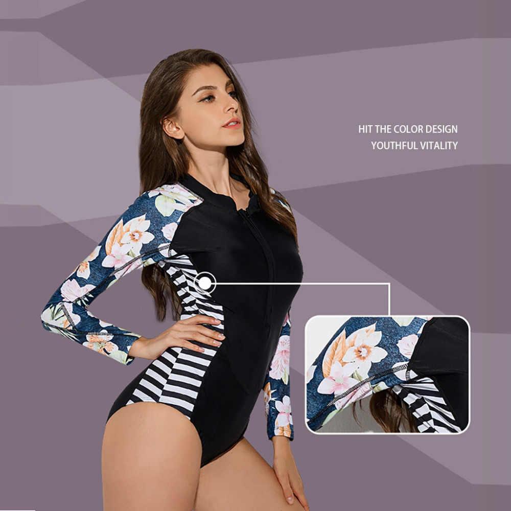 1Piece Wanita Lengan Panjang Ruam Penjaga Perlindungan Sinar UV Matahari Floral Dicetak Zipper Surfing Seksi Baju Renang Baju Bergaris Pinggang # CX