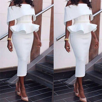 New detonation street snap star suits the three dimensional falbala collar blouse + bust a word skirt suits