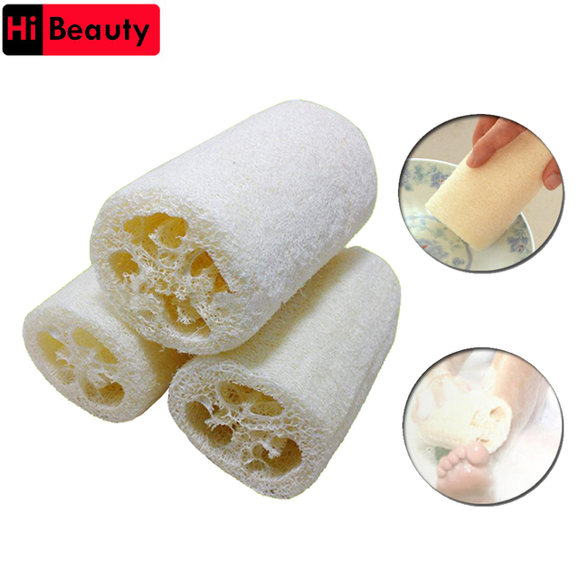50pcs/lot 10cm Length Natural Loofah Bath Spa Body Shower Sponge Scrubber Ponge Brush Horniness Remover Bathroom Accessories