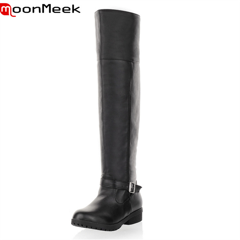 ФОТО Big size 34-43 new arrival hot sale buckle the knee high heels with high quality pu soft leather comfortable square heels