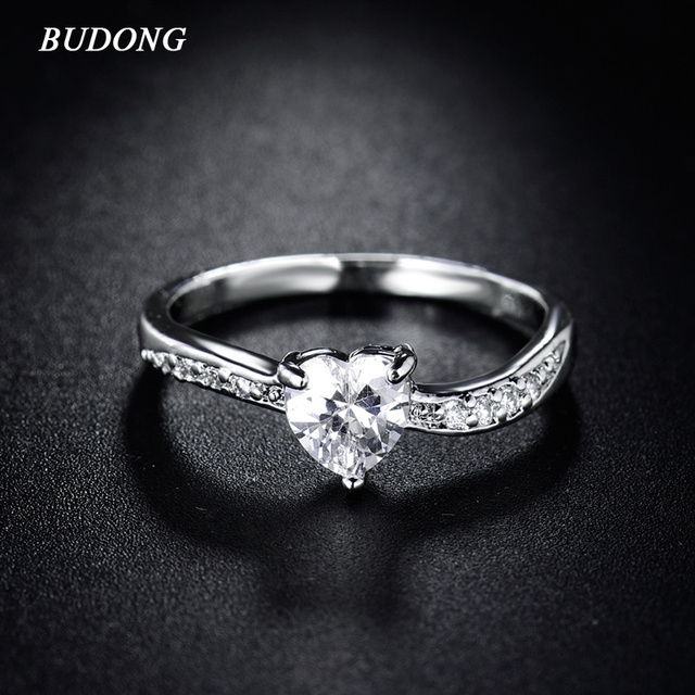 budong 2017 fashion infinity engagement rings for women silver color wedding rings heart love crystal zirconia - Infinity Wedding Rings