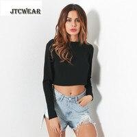 Jtcwear открытой спиной с длинным рукавом Леди Crop Top Sexy Обувь для девочек с длинным рукавом из металла Цепи укороченный футболки для вечеринок и...