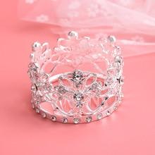 Small round European crown bridal tiara flower child hair ornament baby headband accessory