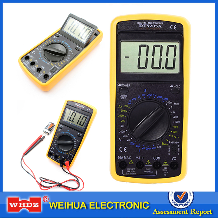 DT-9205A WHDZ Multímetro Digital Profissional Voltímetro Amperímetro Resistência Capacitância Handheld Elétrico hFE Tester AC DC LCD