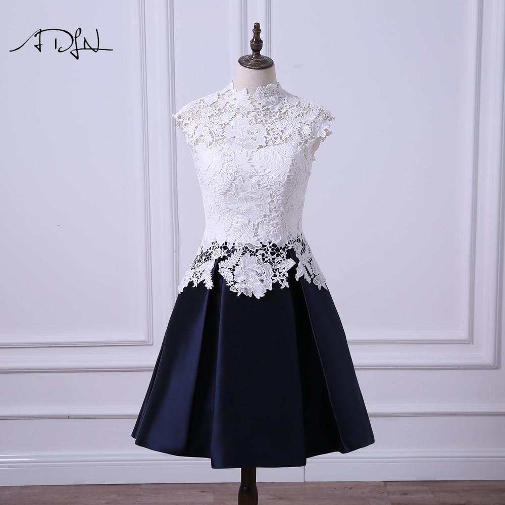 ADLN High Collar Cheap Short Party   Dresses   Cap Sleeve A-line Satin Mini   Cocktail     Dress   Lace Vestidos de Noche Wedding GuestDress