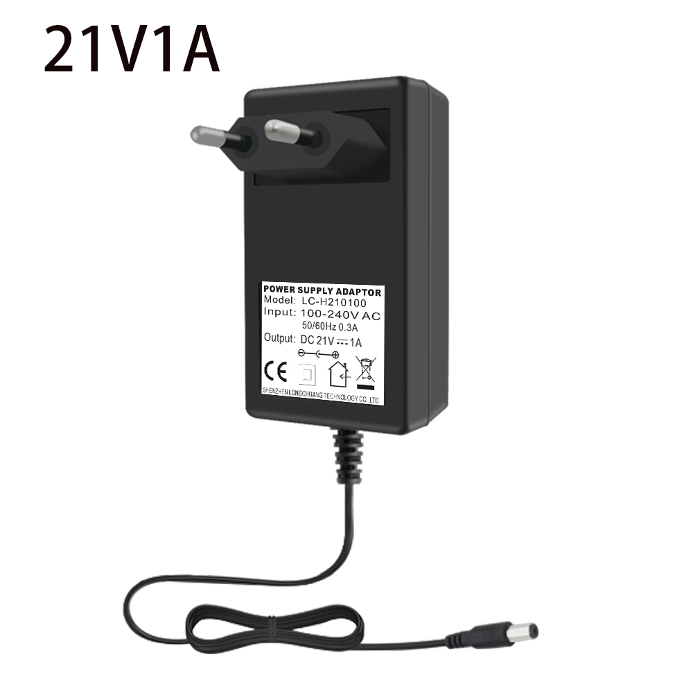New <font><b>21V</b></font> 1A Charger <font><b>AC</b></font> DC Power <font><b>Adapter</b></font> US/EU/UK Plug Power Supply 5.5*2.1mm for LED lights, Lithium Battery Free Shipping image