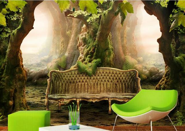 Custom Wall Murals Kitchen Wallpaper For Living Room Clical Sofa Plant Old Tree Wallpapers Non Woven