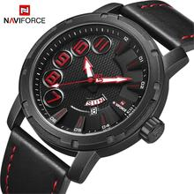 NAVIFORCE Brand Fashion Casual Watches Men's 3ATM Waterproof Quartz Watch Men Date Clock Man Leather Army Military Wristwatch