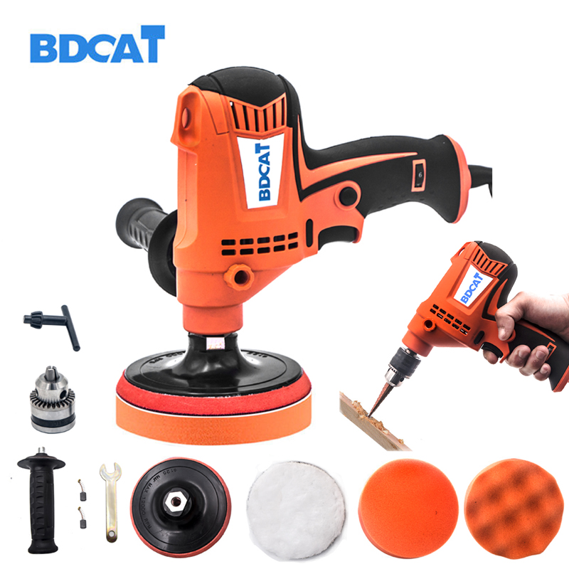 BDCAT 800W Double Use Polish And Drill Multifunction Variable speed Waxing Polishing and Electric Drill Machine Car Repair Tool 24pcs 4inch polish car sponges autos cleaning waxing tool
