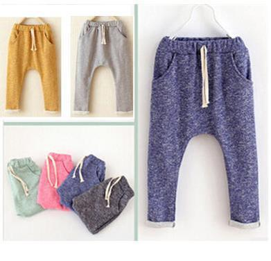 Children's cotton harem pants boys and girls leisure pants kids trousers boys clothes fashion Haren turnup jeans trousers