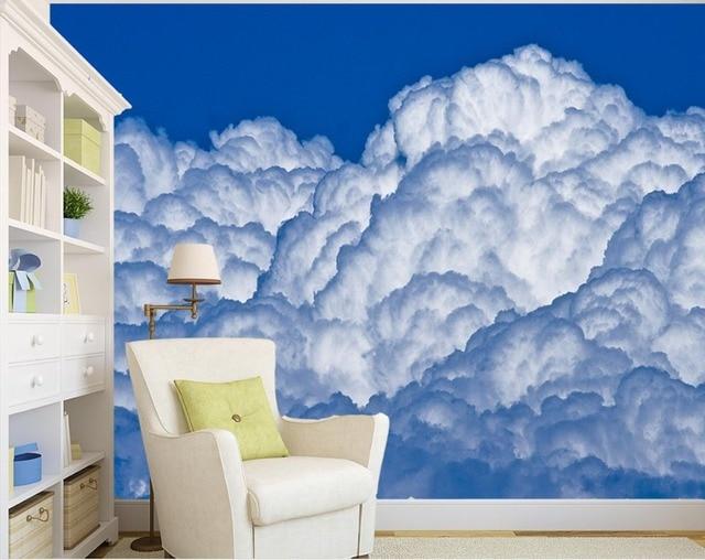 Benutzerdefinierte Blauen himmel und weiße wolken tapeten für ...