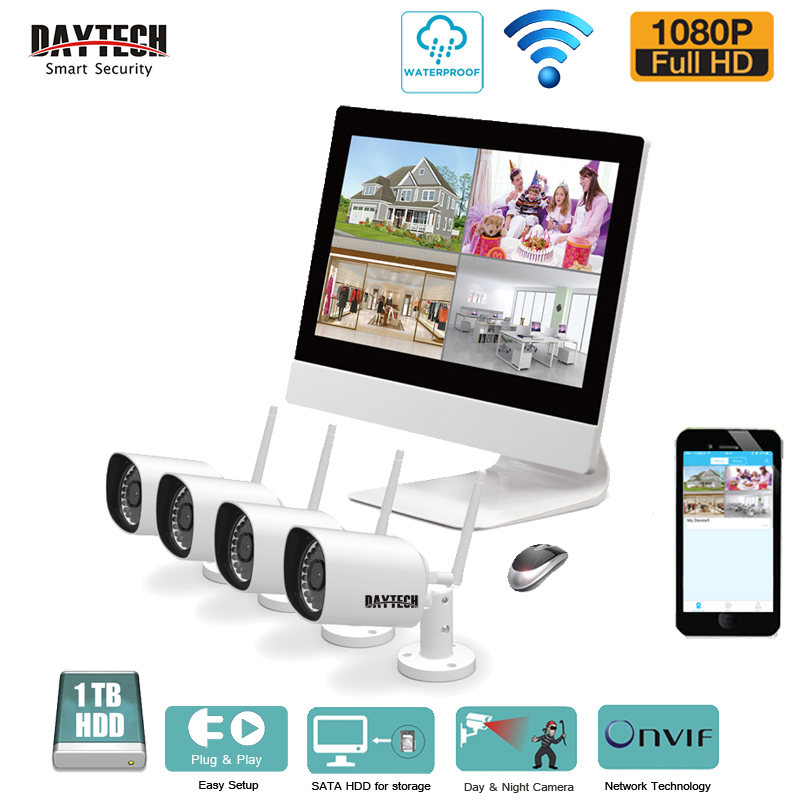 DAYTECH 4CH Wireless NVR Kits 1080P Home Security Surveillance System Outdoor Waterproof HD IR 2MP Camera Night Vision 1TB HDD ...