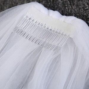 Image 4 - واحد طبقة مصلى طول حجاب الزفاف بسيطة رخيصة لينة تول الأبيض العاج 3m * 3m طرحة زفاف مع مشط الزفاف اكسسوارات