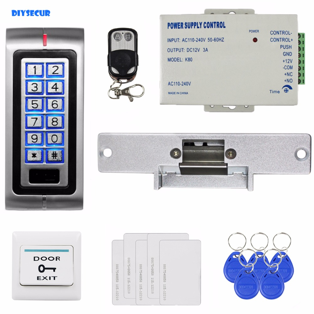 DIYSECUR RFID 125KHz ID Card Password Metal Keypad Access Control Security System Kit + Strike Lock + Remote Controller  K2 hd 1200tvl cmos ir camera dome infrared plastic indoor ir dome cctv camera night vision ir cut analog camera security video cam