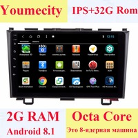 Youmecity NEW! Android 8.1 2 DIN Octa Core Car dvd Video GPS Navi For Honda CRV 2006 2011 IPS Capacitive screen 1024 *600 +wifi