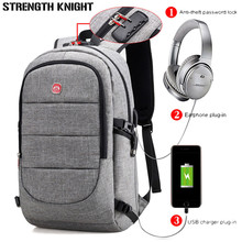 External USB Charge Backpack Men Anti Theft Lock Laptop Bag Large School Bags Male Travel Backpacks With Headphone Plug Mochila