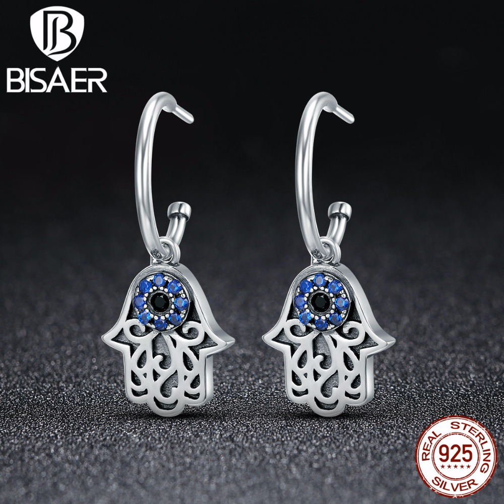 Hot Sale Real 100% 925 Sterling Silver Hamsa Hand Fatima Hand Hanging Stud Earrings for Women Fashion Earrings Jewelry GXE244 pair of hot sale stunning fashion style magnetic crown shape stud earrings