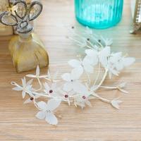 Fashion White Crown Butterfly Hairband Tiara Crystal Floral Hairwear Sweet Bride Headpiece Wedding Accessory Yunxue