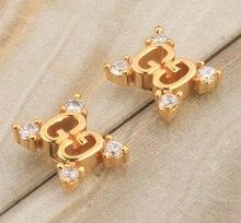 Elegante Blanco Cubic zirconia Joyas de Oro Llena de Joyas de Moda Para La Mujer Tachona los Pendientes S5351