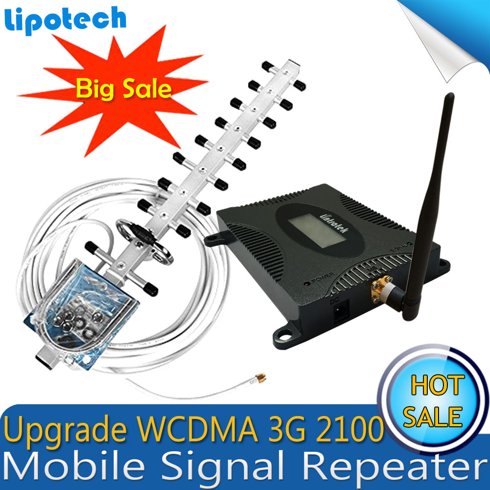 Lintratek conjunto ganar 70dB (banda LTE 1) 2100 UMTS de amplificador de señal móvil 3G (HSPA) WCDMA 2100 MHz 3G UMTS celular repetidor amplificador