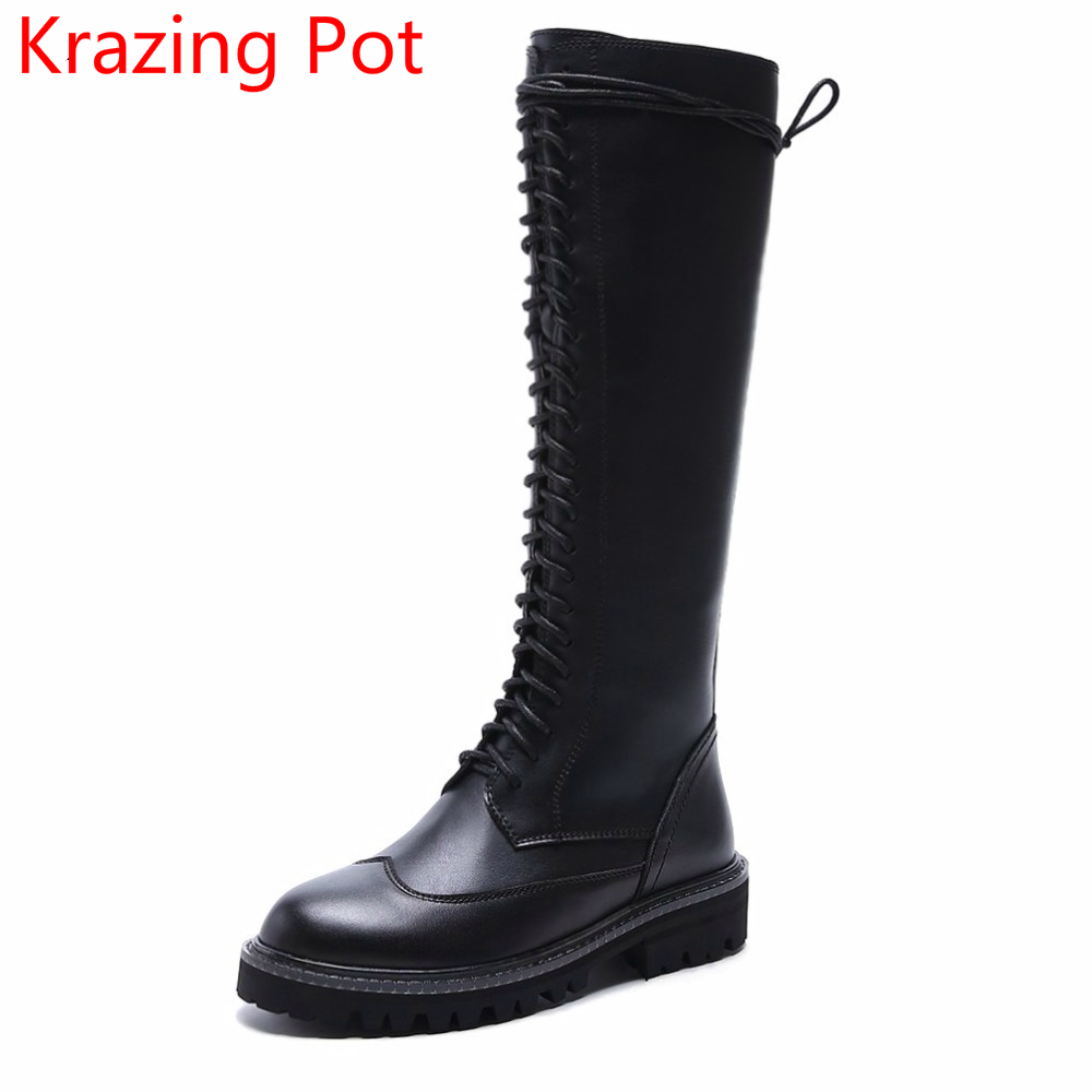 2018 Lace Up Cow Leather Round Toe Med Heels Chelsea Boots Black Motorcycle Boots Keep Warm Handmade Runway Thigh High Boots L33 fashion genuine leather chelsea boots handmade keep warm winter boots round toe thick heels concise ankle boots for women l08