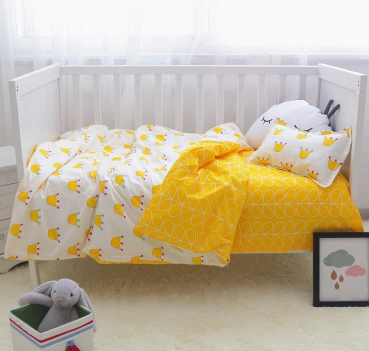 ФОТО 3Pcs/ Sets Cotton Baby Bedding Sets Custom Made Cartoon Printing Baby Bed Cot Sheet  No stimulation Comfortable Baby Bedding