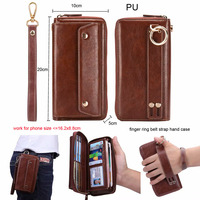Finger Ring Belt Hand Strap PU Wallet Phone Case Pouch For Nokia 9 PureView,For Huawei Mate X,For Sony Xperia L3 10 XA3
