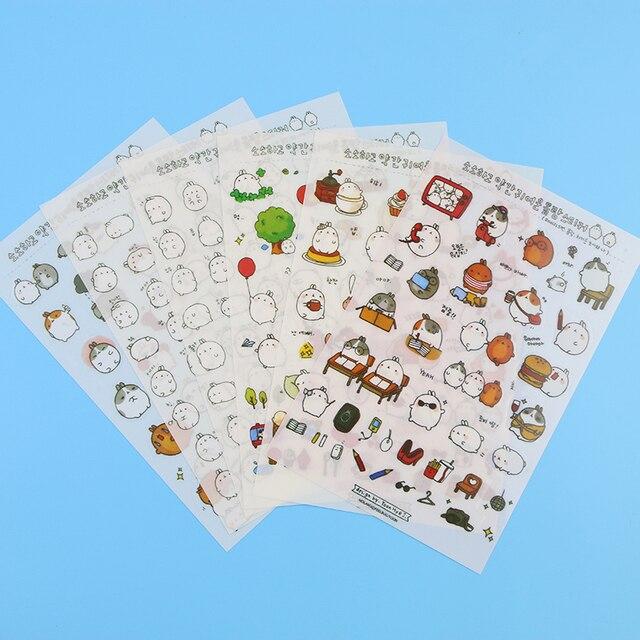 6 pièces Molang dessin animé lapin décoratif autocollants téléphone Mobile autocollants papeterie bricolage Album autocollants matériel Escolar Kawaii