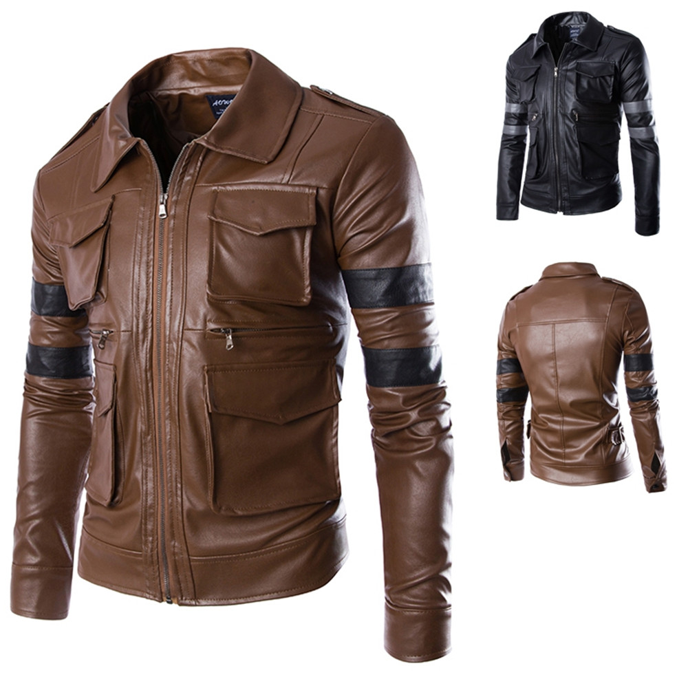 New Games Resident Evil 4 Costumes Men S Leon S Kennedy Pu Leather
