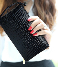 PU Leather Alligator Billfold Pochette With Wrist Strap Womens Wallets And Purses Portefeuille Femme Carteira Feminino