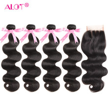 Body Wave 4 Bundles With Closure Peruvian Non Remy Hair Extension 5 PCS Human Hair Weave With Three Part Swiss Lace Closure(China)
