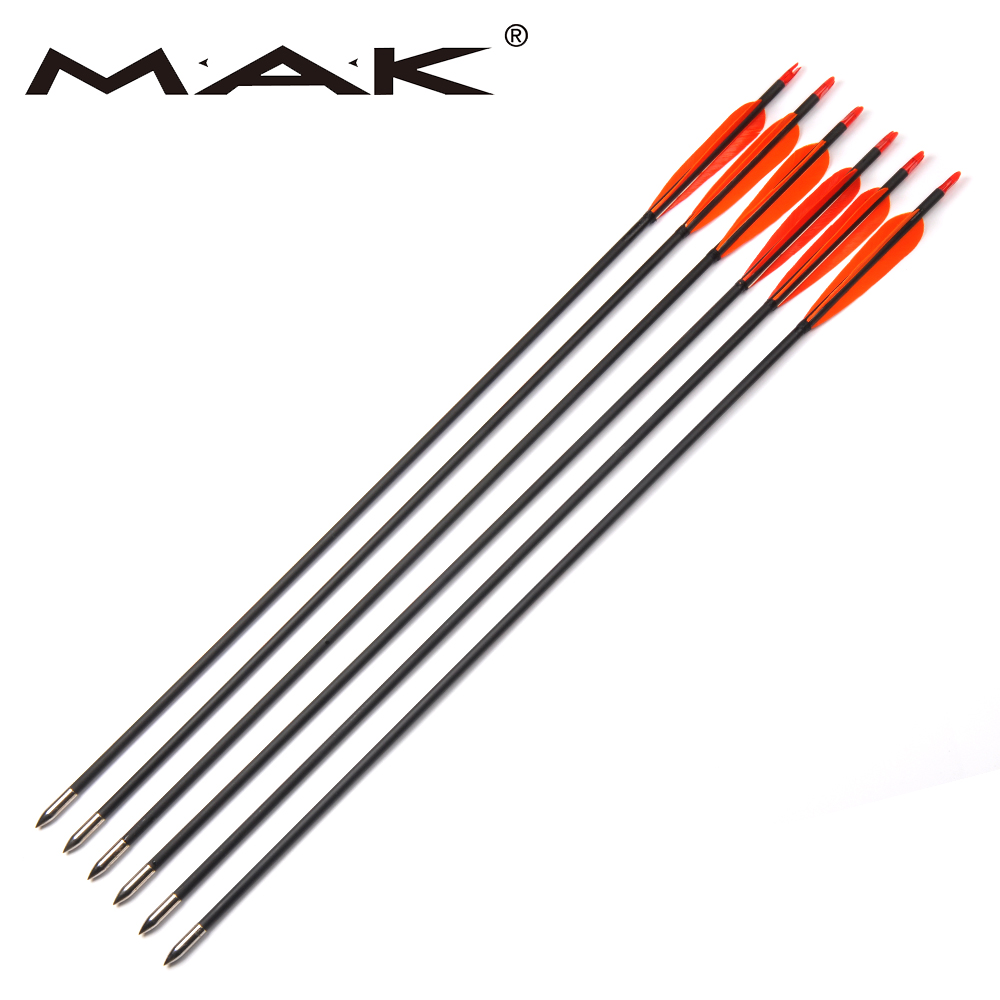 12pcs 30 Inches Carbon Arrows With 3 Orange Turkey Feather for20-50lbs Recurve Bow and longbow Archery Shooting Hunting 12pcs 31 carbon arrow with turkey feather for recurve bows archery hunting 350 spine