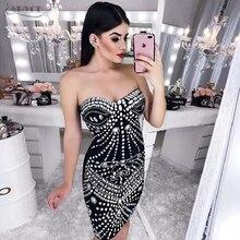 ADYCE 2018 New Summer Women Bodycon Party Dress Vestidos Luxury Black Strapless Diamond Beads Sleeveless Celebrity Runway Dress