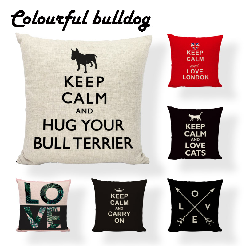 High Quality Keep Calm Series Cushion Cover Cartoon Pillowcases Love London Pillowcases Lounger Study Reading Throw Pillow Cover