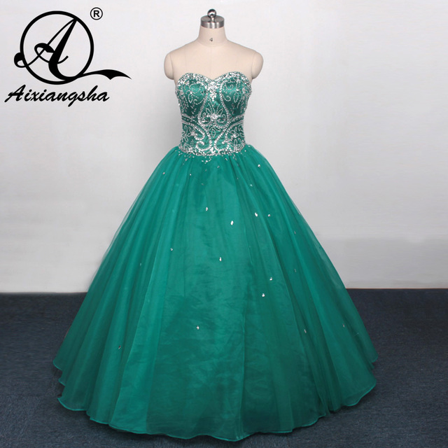4abb562468d Dark Cyan Bejeweled Bodice Quinceanera Dresses Tulle Ball Gowns New  Debutante Dress for 15 Years Vestido de quinceanera 2017