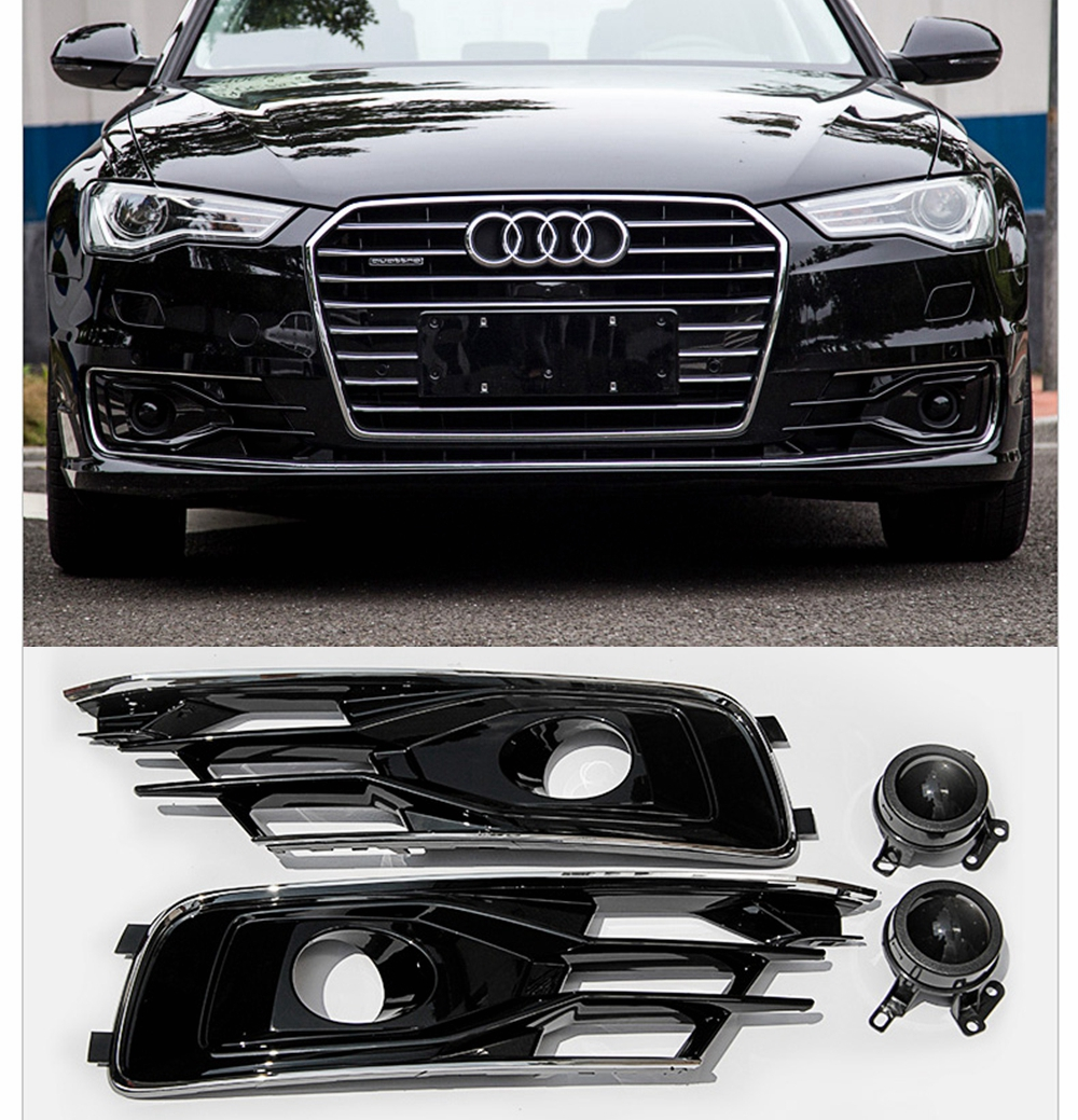 For Audi A6 C7 2016 2017 2018 Front Bumper Foglight Grille