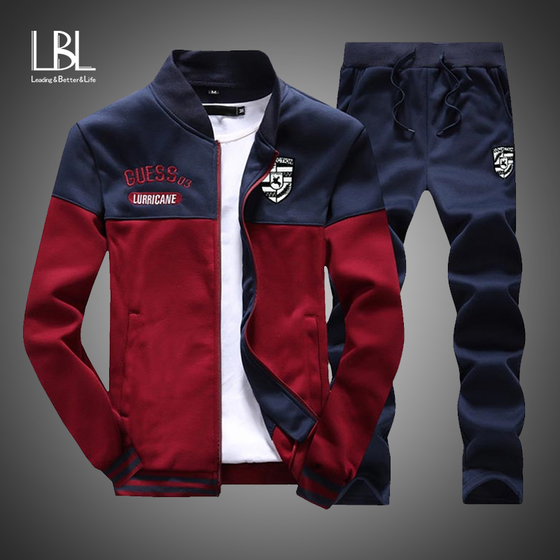 2d6ea814 Slim Tracksuit Sweatshirt Sporting-Suit Mens Clothing Men-Sets Patchwork  Fashion Brand