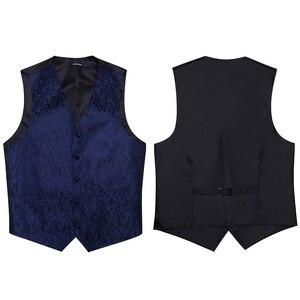Image 4 - Mens Classic Party Wedding Paisley Plaid Floral Jacquard Waistcoat Vest Pocket Square Tie Suit Set Pocket Square Set