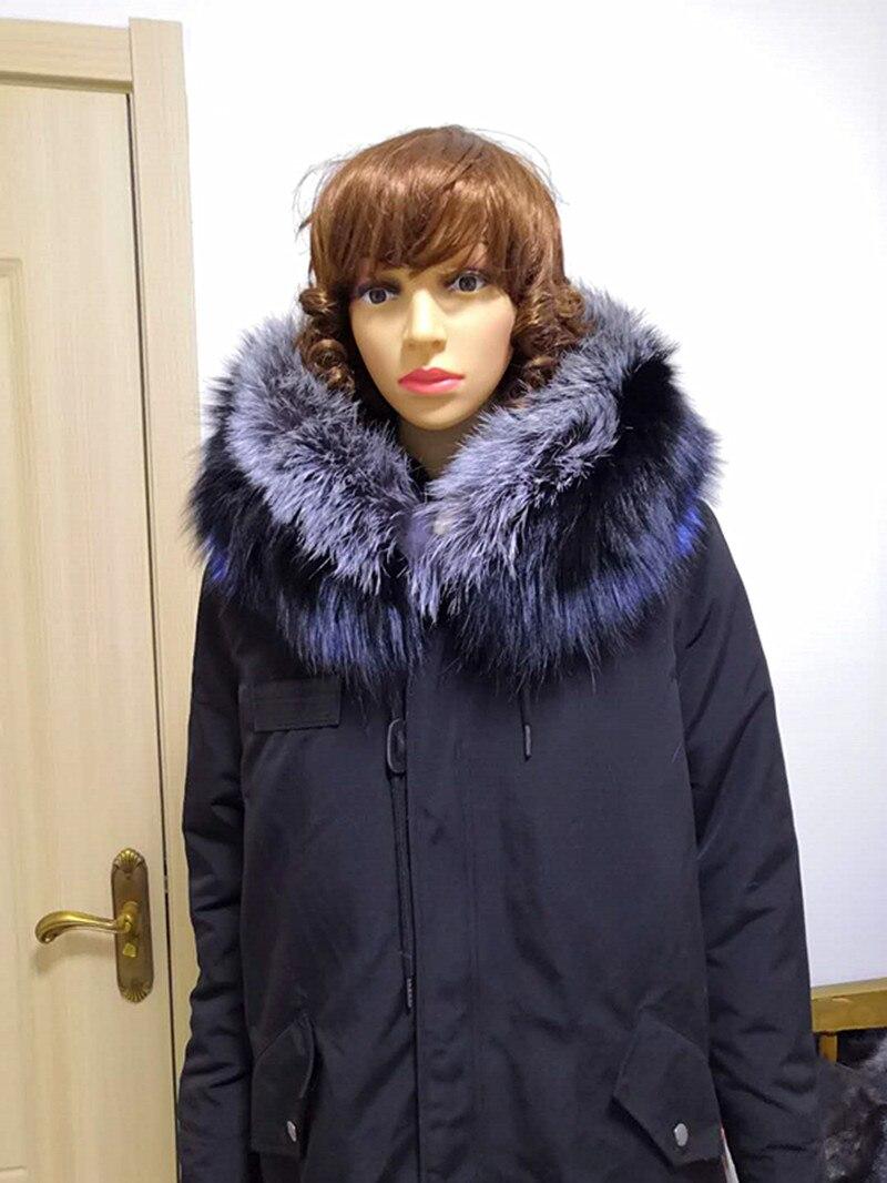 Jin li di ang réel manteau de fourrure Épaissir Chaud Manteau D'hiver Femmes Oversize 2018 Grand Réel Naturel FOX De Fourrure Parka survêtement à capuchon