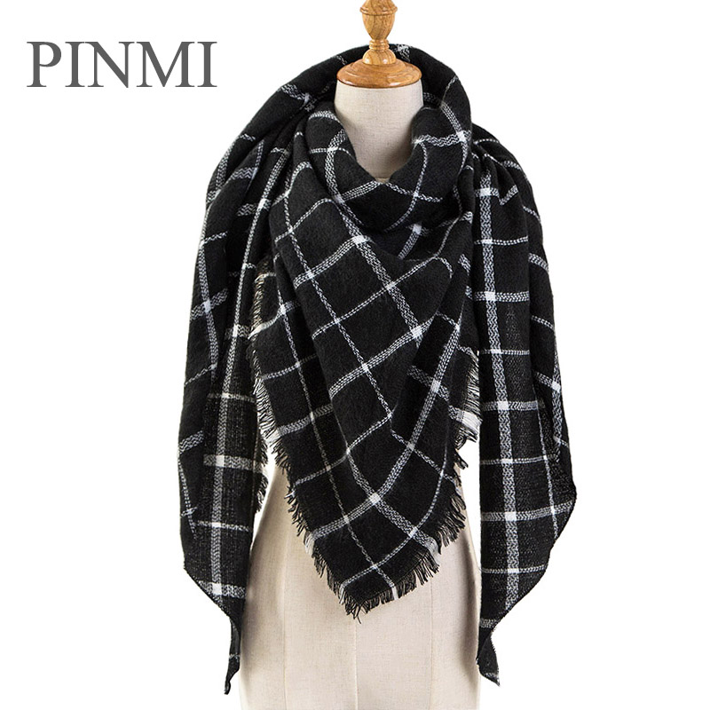 Black Plaid Winter   Scarf   Women 2018 Warm Cashmere   Scarves   and Shawls Triangle   Scarf   Female Pashmina   Wraps   Blanket Wholesale