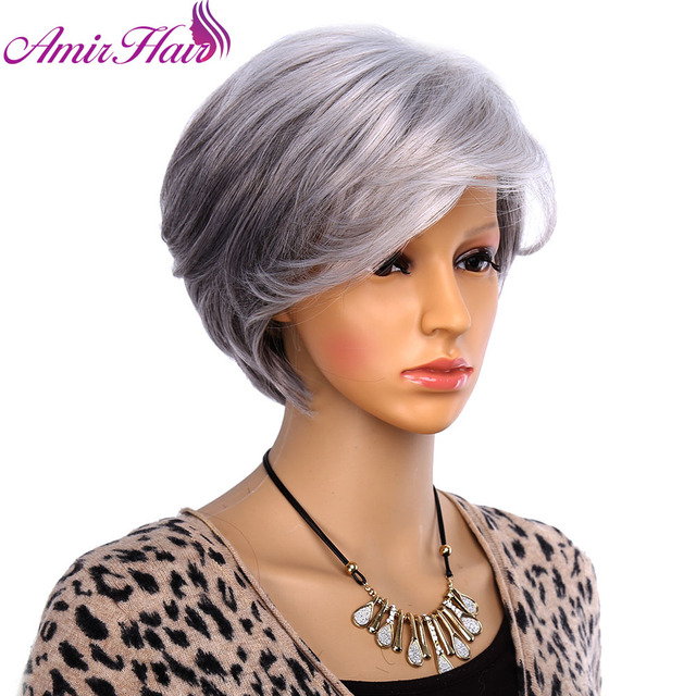 Amir Synthetic Wig Cosplay Short Straight Hair For Old Women Sliver