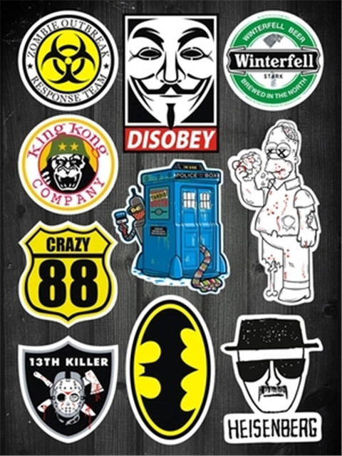 A4br12 10 different styles zombie breaking bad 13th killer crazy 88 luggage laptop removable pvc stickers