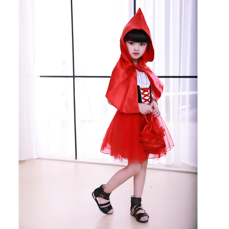 2017 New Cute Little Red Riding Hood costume for girl Kid Party Fancy Dress Cinderella Princess Party children Performance Dress rdr cd [green a1 ] little red riding hood