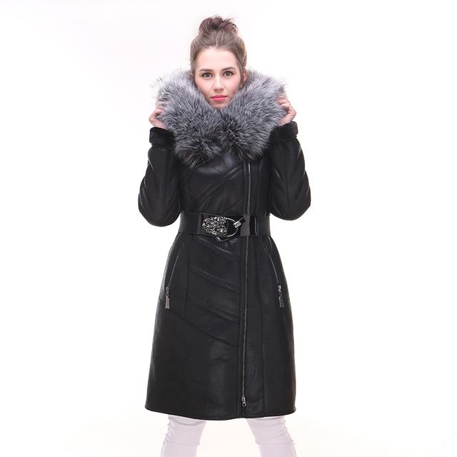 2017 new winter Faux fur coat women's suede fashion Faux fox fur collar Hooded Slim thick large size 7XL Factory direct supplier