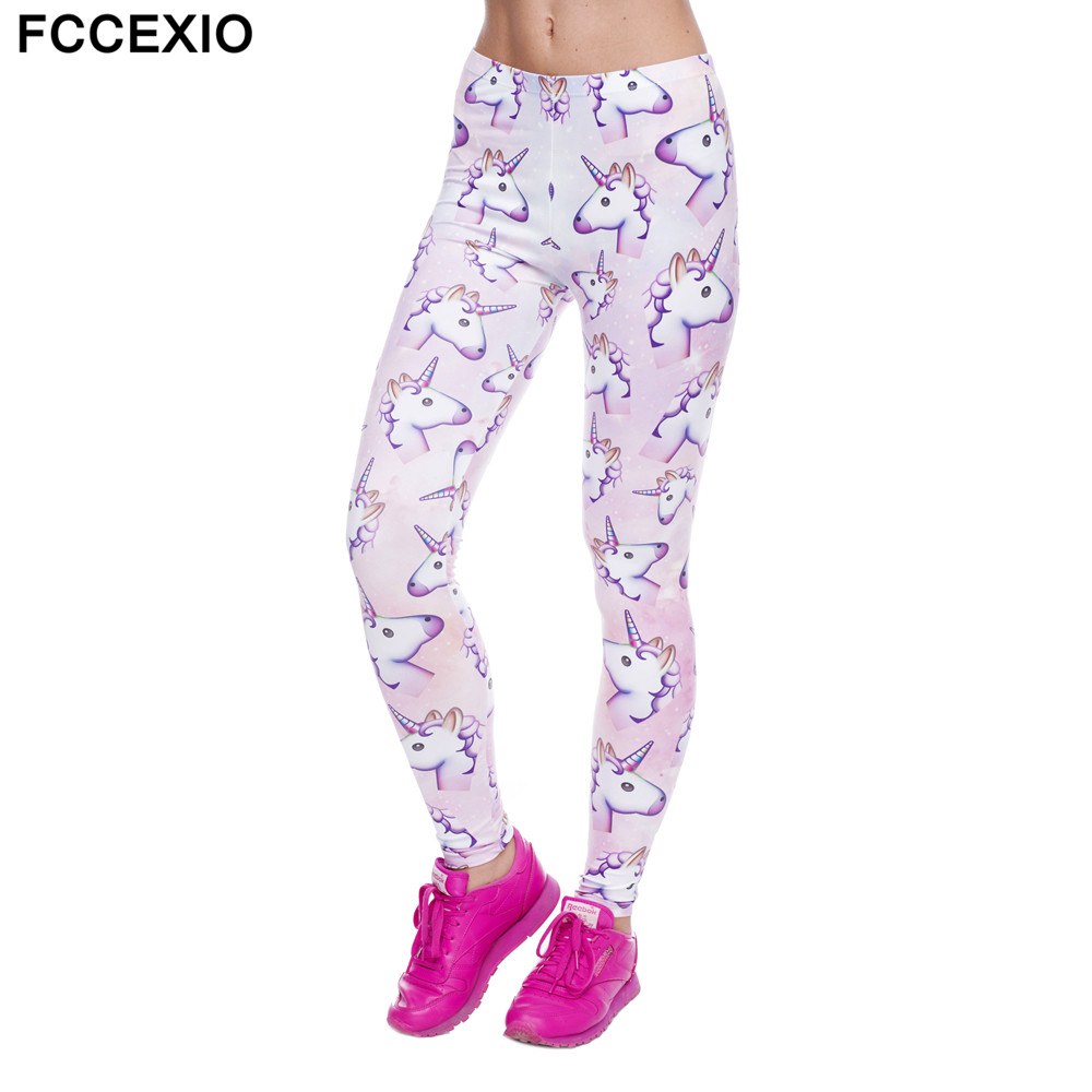 FCCEXIO New Fashion Women Pink Leggings Unicorn And Sweets 3D Printed Leggins Fitness legging Sexy Slim High waist Woman pants