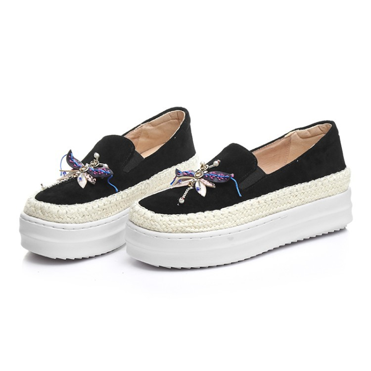 Big Size Women Platform Loafers Crystal Genuine Leather High Quality Pointed Toe Flats Shoes For Women Slipony Women Rhinestone  (8)